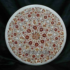 21 Inches Marble Patio Sofa Table Stone Coffee Table Top with Pietra Dura Art
