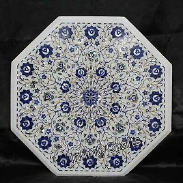 21 Inches Marble Coffee Table Top Royal Look Sofa Table with Lapis Lazuli Stone