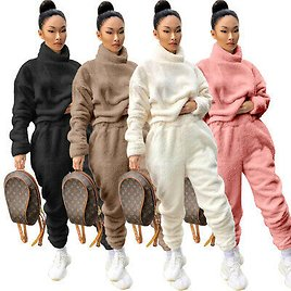 Women Long Sleeves High Neck Solid Color Thicken Winter Casual Street Pants Set