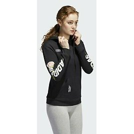 New Adidas Womens Work In Progress Embroidery Floral Athletic Rose Hoodie XS - M