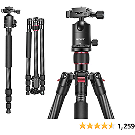 Carbon Fiber Camera Tripod Monopod with 360 Degree Ball Head,1/4 Inch Quick Shoe Plate, Bag for DSLR Camera Video Camcorder,Load
