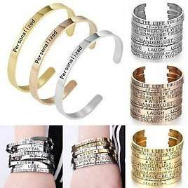 Personalized Stainless Steel Custom Letter Name Engraved Bracelet Cuff Bangle