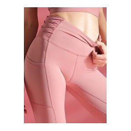 Clearance Ruched Side High Waist Pink Yoga Leggings With Pockets