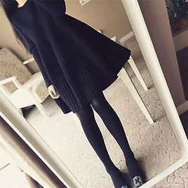 Womens Sweater Dress Long Sleeve Loose Thicken Knitted Pullover A-line Dresses
