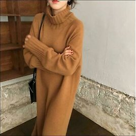 Womens Sweater Dress Loose Long Sleeve Knitted Turtleneck Pullover Jumper Casual