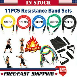 11 PCS Resistance Bands Set Yoga Pilates ABS Exercise Fitness Tube Workout Bands