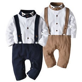 Baby Boy's Gentleman Long Sleeve Romper Outfits Toddler Kids Jumpsuit Clothes UK
