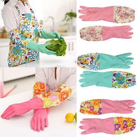 Rubber Latex Dish Washing Long Gloves Kitchen Housework Cleaning Waterproof