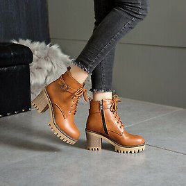 Womens Patent Leather Block Heel Platform Lace Up Shoes Round Toe Ankle Boots