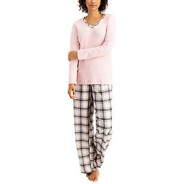 Charter Club Mixit Solid Top & Plaid Flannel Pajama Pants Set, Created for Macy's & Reviews - Bras, Panties & Lingerie - Women