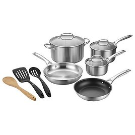 Cuisinart 11-pc. Stainless Steel Dishwasher Safe Non-Stick Cookware Set