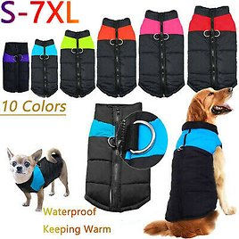 Waterproof SmallLarge Pet Dog Clothes Warm Winter Padded Coat Vest Jacket S7XL