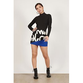Block You Out Black & Blue Graphic Mini Skirt