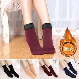 Women Winter Warm Thermal Solid Soft Fleece Lined Casual Ankle Floor Socks A12CA