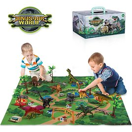 Children's Prehistoric Dinosaur Toy Animal World Biological Model Set Movable Doll with Play Mat Learning Puzzle Gift Boys Toys