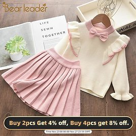 US $7.77 46% OFF|Bear Leader Girls Winter Clothes Set Long Sleeve Sweater Shirt Skirt 2 Pcs Clothing Suit Bow Baby Outfits for Kids Girls Clothes|Clothing Sets| - AliExpress