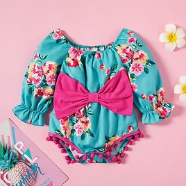 Baby Girl Floral Bowknot Romper