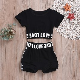 Letter Print Top and Shorts Set