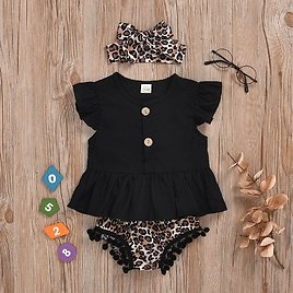 Baby Casual Solid Flare-sleeve Top and Floral Shorts Set