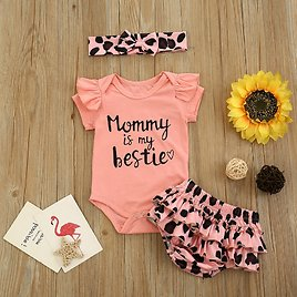 Baby Girl Letter Romper and Leopard Shorts Set with Headband (No Shoes )