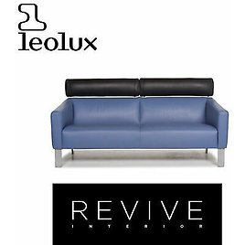 Leolux Leather Sofa Blue Two Seater Function Couch #12985