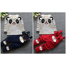 2pc Baby Clothes Toddler Kids Baby Boys Girls Fall Outfits Top&rompers Set Panda