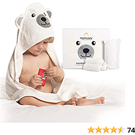 Bamboo Hooded Baby Towel, Momcozy 5-Piece Baby Bath Towels for Boys or Girls, Baby Towel and Washcloth Set with Cute Bear Design, Baby Shower Towel Gift for Newborns, Infants and Toddlers