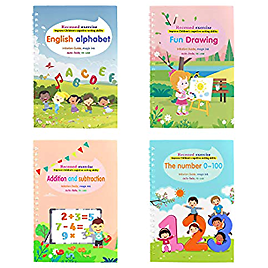 Magic Practice Copybook, Number Tracing Book for Preschoolers, Magic Calligraphy Copybook Set Practical Reusable Writing Tool for Age 3-5 Calligraphy Simple Hand Lettering (4PC, Multicolor)