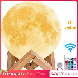 US $8.8 54% OFF|LEADLY Moon Lamp Moon Light Night Light USB Charging Touch Control Brightness 3D Printed Warm And Cool White Lunar Lamp|LED Night Lights| - AliExpress