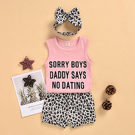 Baby Sweet Letter Print Tank Top and Leopard Shorts Set with Headband