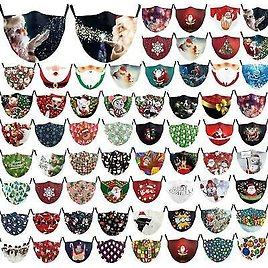 MERRY CHRISTMAS Adjustable Adult Cloth Face Mask Washable FREE SHIP!