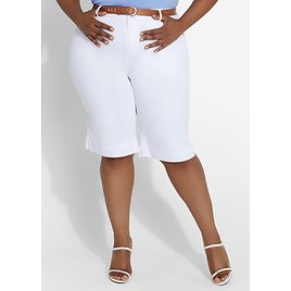Belted Mid Rise Bermuda Shorts
