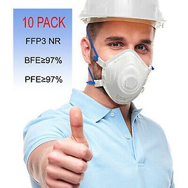10 Pack FFP3 KN95 Disposable Face Mask Mouth Cover Protective Respirator Valve