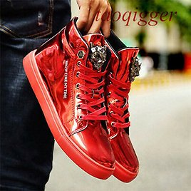 Punk Vogue Mens Patent Leather High Top Sneakers Lace Up Round Toe Bling Shoes S