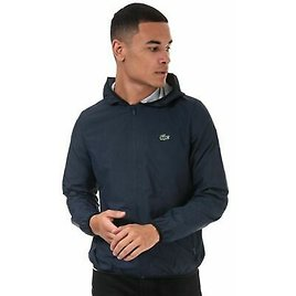 Men's Lacoste Water-Resistant Mesh Lined Polyester Jacket in Blue