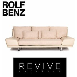 Rolf Benz Leather Sofa Cream Three-Seater Couch #13210