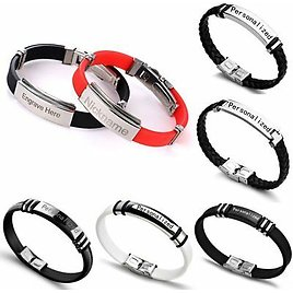 DIY Personalized Stainless Steel Custom Engrave Letter Bracelets Bangle Couple