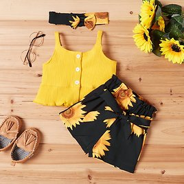 Baby Girl Sweet Solid Top and Sunflower Shorts Set with Headband