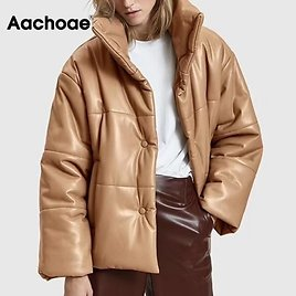 US $31.72 54% OFF|Women PU Leather Parkas Fashion High Street Solid Faxu Leather Coats Elegant Winter Thick Cotton Jackets Loose Outerwear|Parkas| - AliExpress