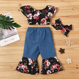 3-piece Allover Top and Bellbottom Pants Set