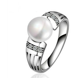 Elegant Women Fashion Silver White Pearl Ring Party Jewelry Couple Gifts Size 6