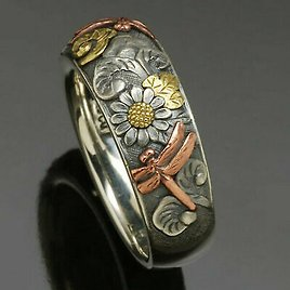 Handmade Women Two Tone 925 Silver Flower Dragonfly Animal Ring Jewelry US