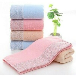 Face Hand Towel Absorbent Quick Drying Bathing Washcloth Shower Towel Soft Pink