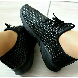 Womens Black Lace Up Trainers Ladies Flat Comfy Fitness Gym Running Sports Shoes