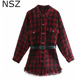 US $29.79 10% OFF|NSZ Women Red Houndstooth Oversized Tweed Jacket Fall Plaid Wool Blend Coat Belted Tassel Checked Outerwear Chaqueta Mujer|Jackets| - AliExpress