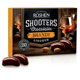 """Box Sweets ROSHEN """"Shooters"""" Chocolate Candy with Brandy Liqueur 150g / 5.3 Oz"""