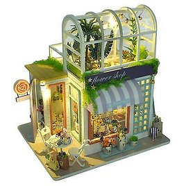 Wooden DIY Miniature Flower Shop House Model With LED Light Dust Cover Kids Gift