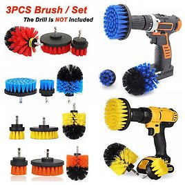 3Pcs Tile Grout Drill Brush Power Scrubber Cleaning Tub Cleaner Attachment Kit