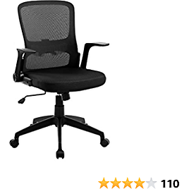 Office Chair, Mesh Computer Desk Chair Mid-Back Ergonomic Adjustable Swivel Chair with Lumbar Support Armrests for Students, Home Office, Black