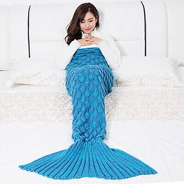 Fish Scale Knitted Mermaid Tail Blanket Children's Family Warm Sofa Blanket